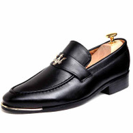 Black metal decorated retro slip on dress shoe 01
