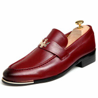 Red metal decorated retro slip on dress shoe 01