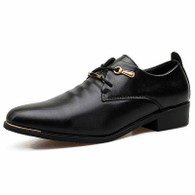 Black pleated lace up dress shoe 01