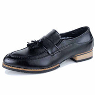 Black tassel decorated retro slip on dress shoe 01