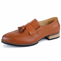 Brown tassel decorated retro slip on dress shoe 01