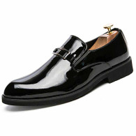 Black metal buckle pattern slip on dress shoe 01