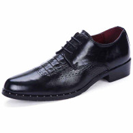 Black brogue crocodile pattern derby dress shoe 01