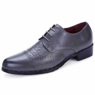 Grey brogue crocodile pattern derby dress shoe 01
