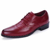 Red brogue crocodile pattern derby dress shoe 01