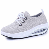 Grey mix stripe rocker bottom shoe sneaker 01