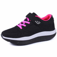 Black velcro lace up rocker bottom shoe sneaker 01