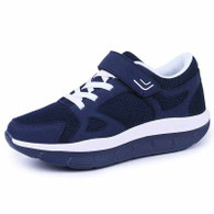 Navy velcro lace up rocker bottom shoe sneaker 01