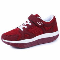 Red velcro lace up rocker bottom shoe sneaker 01