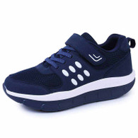 Navy velcro lace up pattern rocker bottom shoe sneaker 01