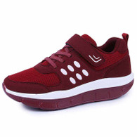 Red velcro lace up rocker bottom shoe sneaker 1815 01