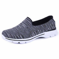 Black stripe pattern flyknit slip on shoe sneaker 01
