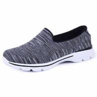 Black stripe pattern flyknit slip on shoe sneaker 01