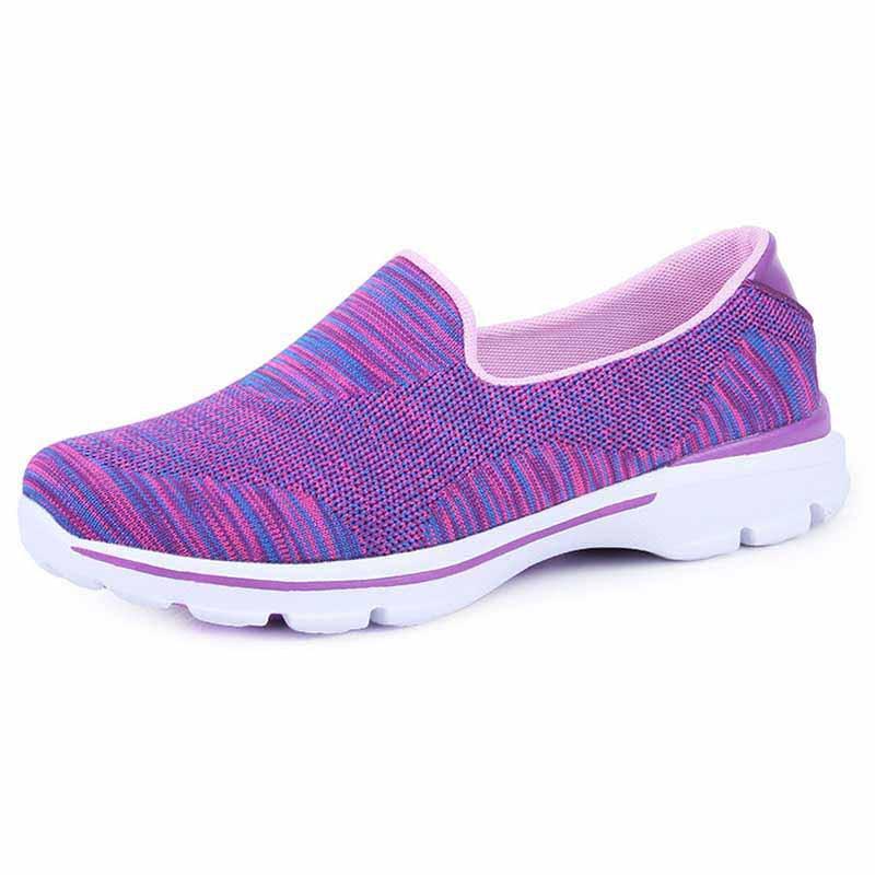 6a1da454012d4 Purple stripe pattern flyknit slip on shoe sneaker 01