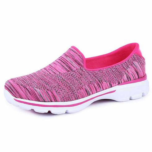 Red stripe pattern flyknit slip on shoe sneaker 01