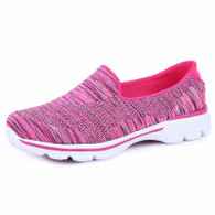 Red stripe pattern flyknit slip on shoe sneaker 01