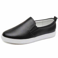 Black plain color casual slip on shoe sneaker 01