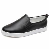 Black plain color casual slip on shoe sneaker 01