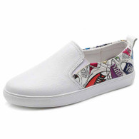 White mix pattern casual slip on shoe sneaker 01