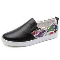 Black mix pattern casual slip on shoe sneaker 01