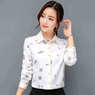 White mix pattern print long sleeve button shirt 01