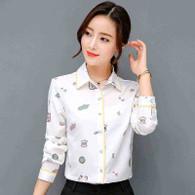 White mix pattern print long sleeve button shirt 01