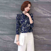 Navy floral pattern print long sleeve button shirt 01