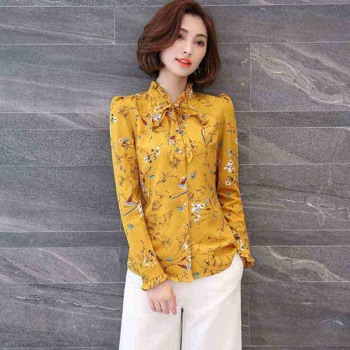 Yellow floral pattern print long sleeve button shirt 01