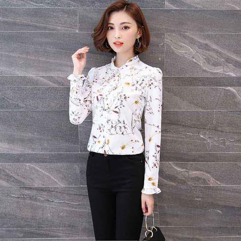 White floral pattern print long sleeve button shirt 1118 01