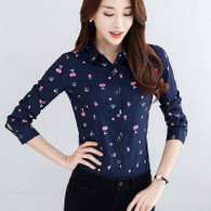 Navy mix pattern print long sleeve button shirt 01