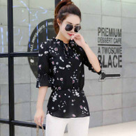 Black floral pattern print mid sleeve shirt 01