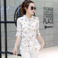 White floral pattern print mid sleeve shirt 01