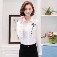 White floral pattern long sleeve button shirt 1123 01