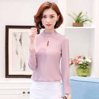 Pink plain color rear zip long sleeve shirt 01