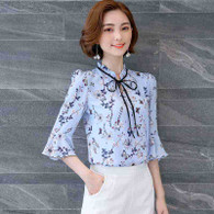Blue floral pattern print mid fluted sleeve shirt 01