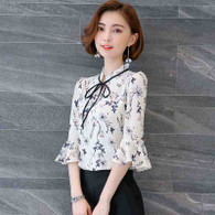 White floral pattern print mid fluted sleeve shirt 01