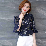 Navy floral pattern print mid fluted sleeve shirt 01