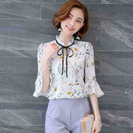Yellow white floral pattern mid fluted sleeve shirt 01