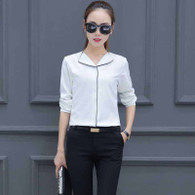 White V neck long sleeve button shirt 01