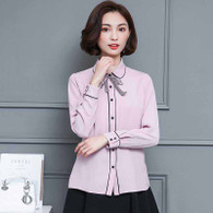 Pink butterfly neck tie long sleeve button shirt 01