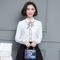 White butterfly neck tie long sleeve button shirt 01