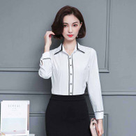 White contrast black long sleeve button shirt 01