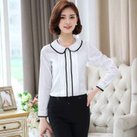 White contrast black long sleeve button shirt 1131 01