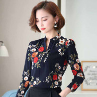 Navy floral pattern print long sleeve pull over shirt 01