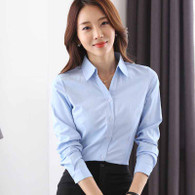 Blue plain long sleeve button shirt 01