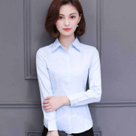 Blue plain long sleeve concealed button shirt 01