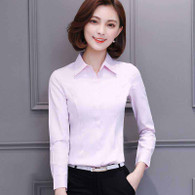 Pink plain long sleeve concealed button shirt 01