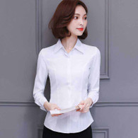 White plain long sleeve concealed button shirt 01