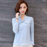 Blue butterfly neck tie long sleeve pull over shirt 01