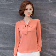 Orange butterfly neck tie long sleeve pull over shirt 01